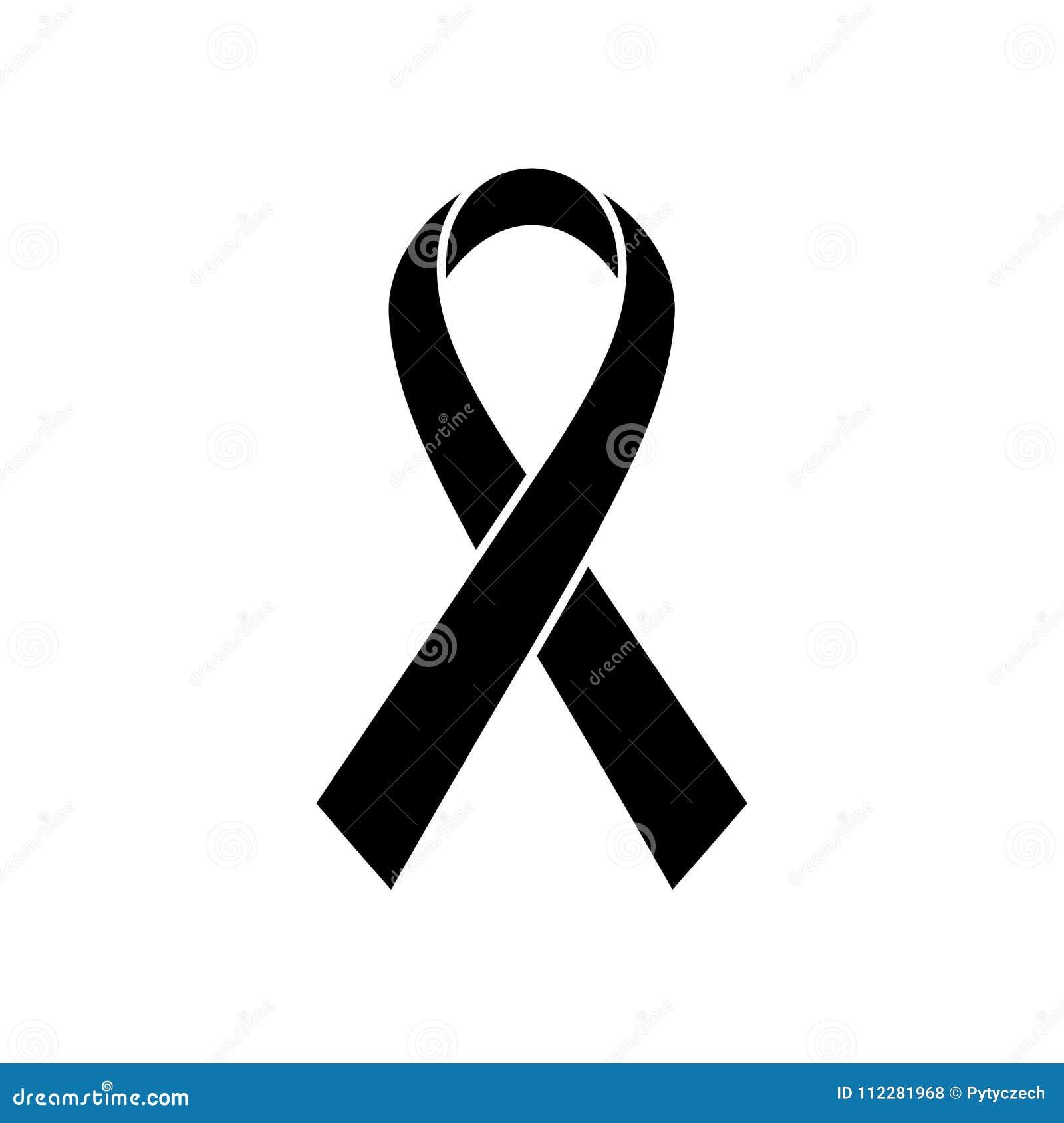 Breast Cancer Awareness Ribbon icon. Symbol of women healthcare. Simple black vector illustration