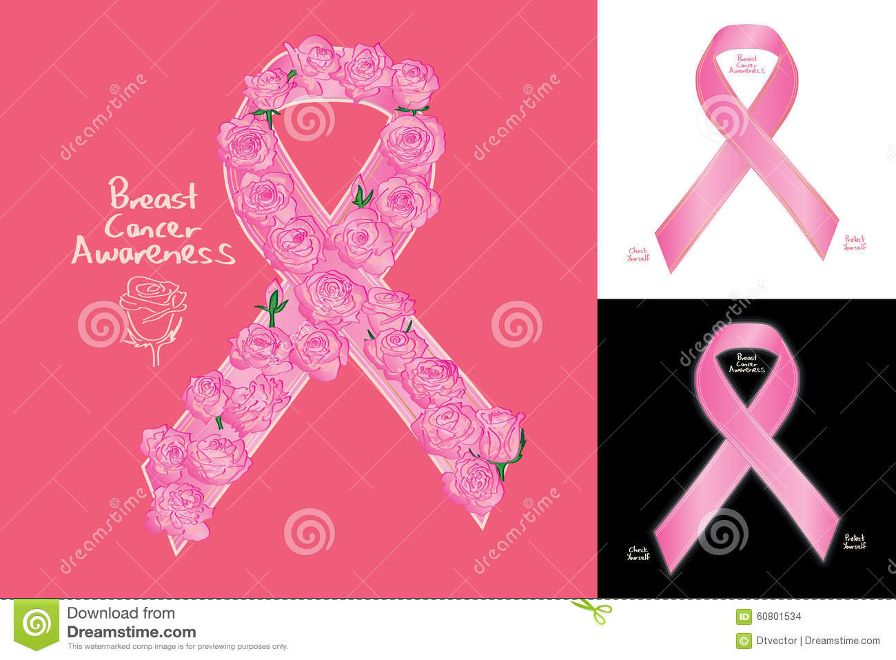 Breast Cancer Awareness Ribbon Sign Rose Decor Stock