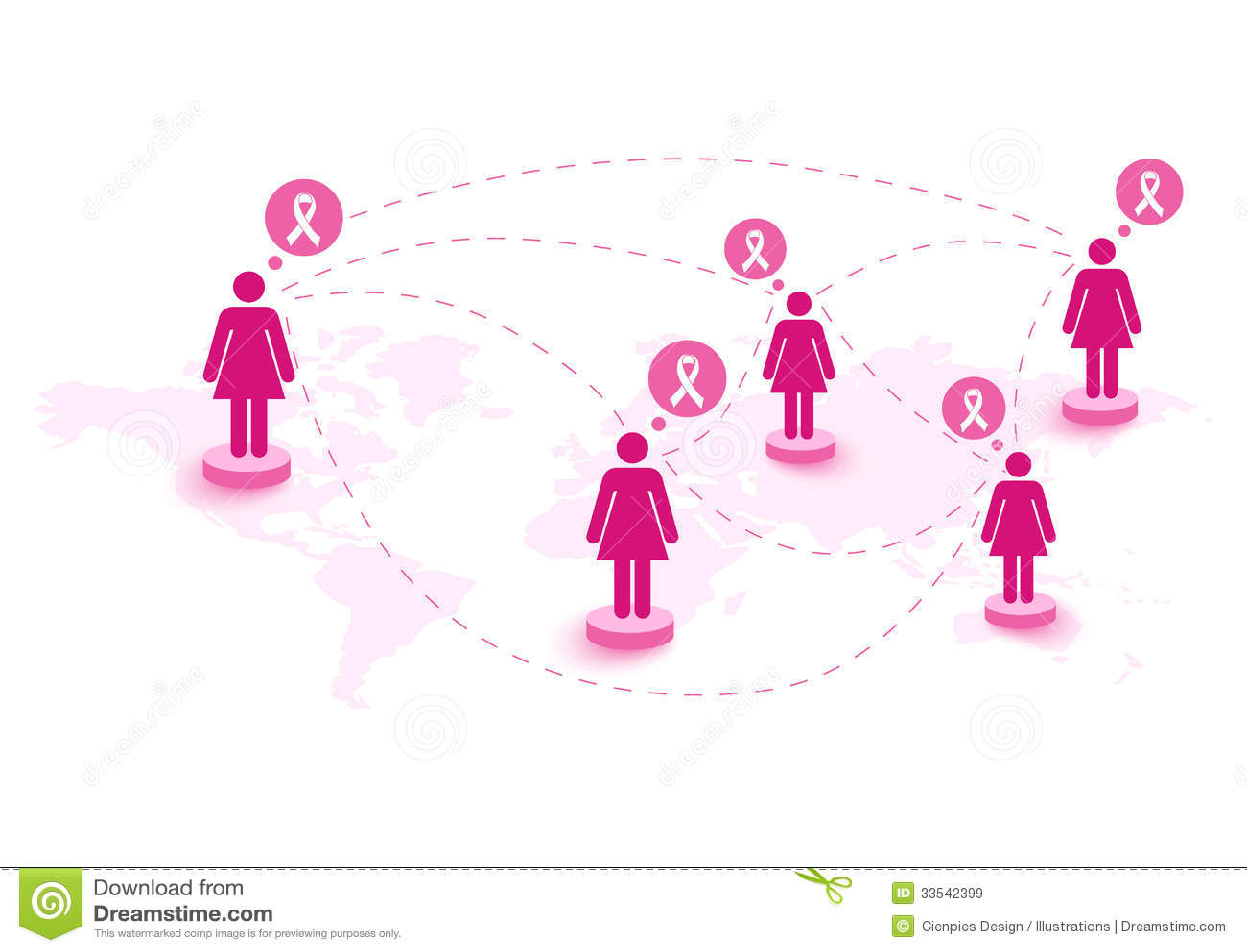 Breast Cancer Awareness Ribbon Women Speech Global Map Eps10 File