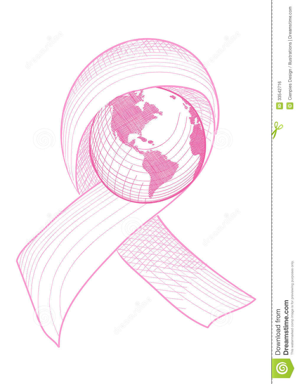 Breast cancer awareness ribbon world illustration