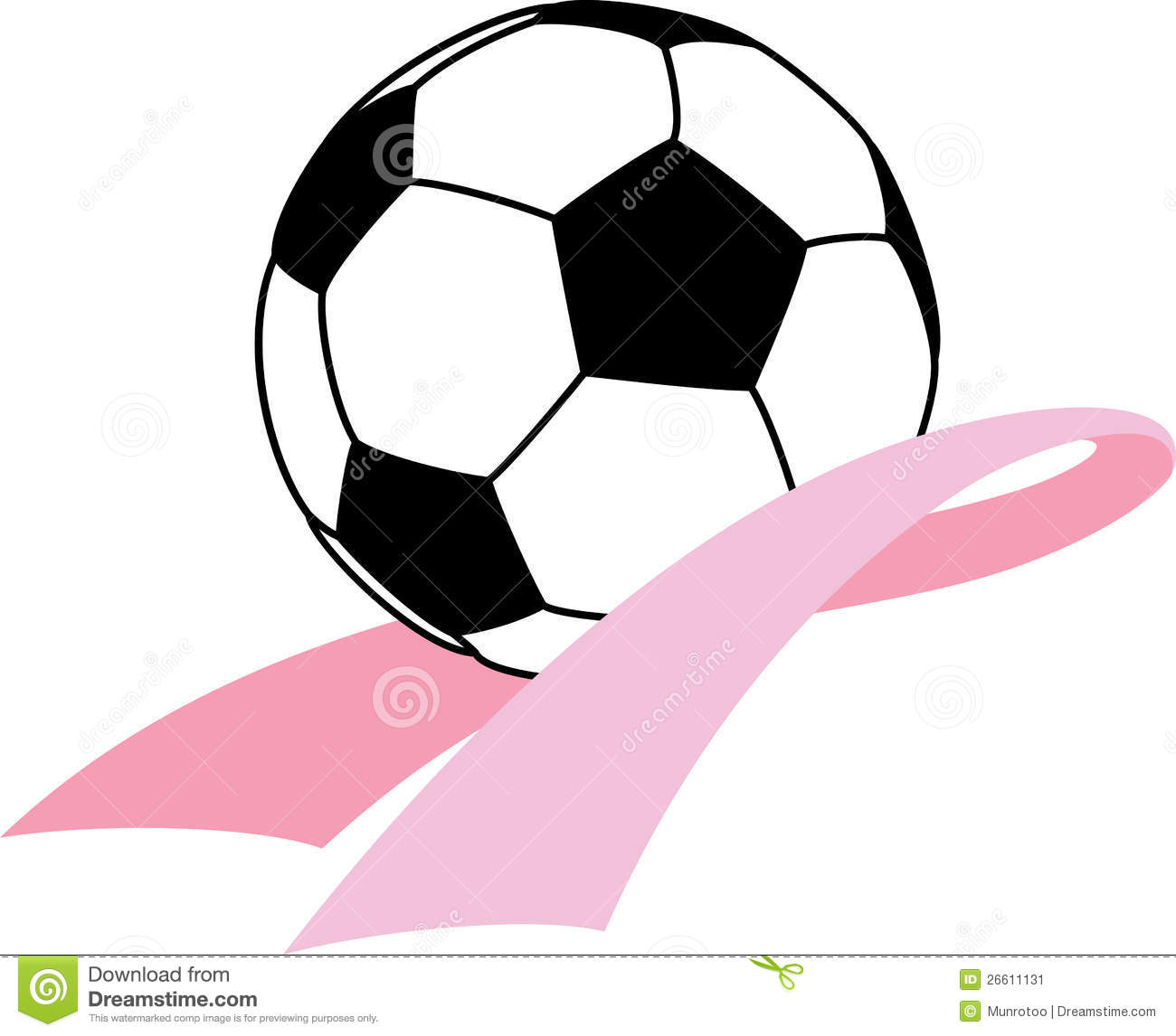 Vector illustration of a soccer ball sitting in a breast cancer ...