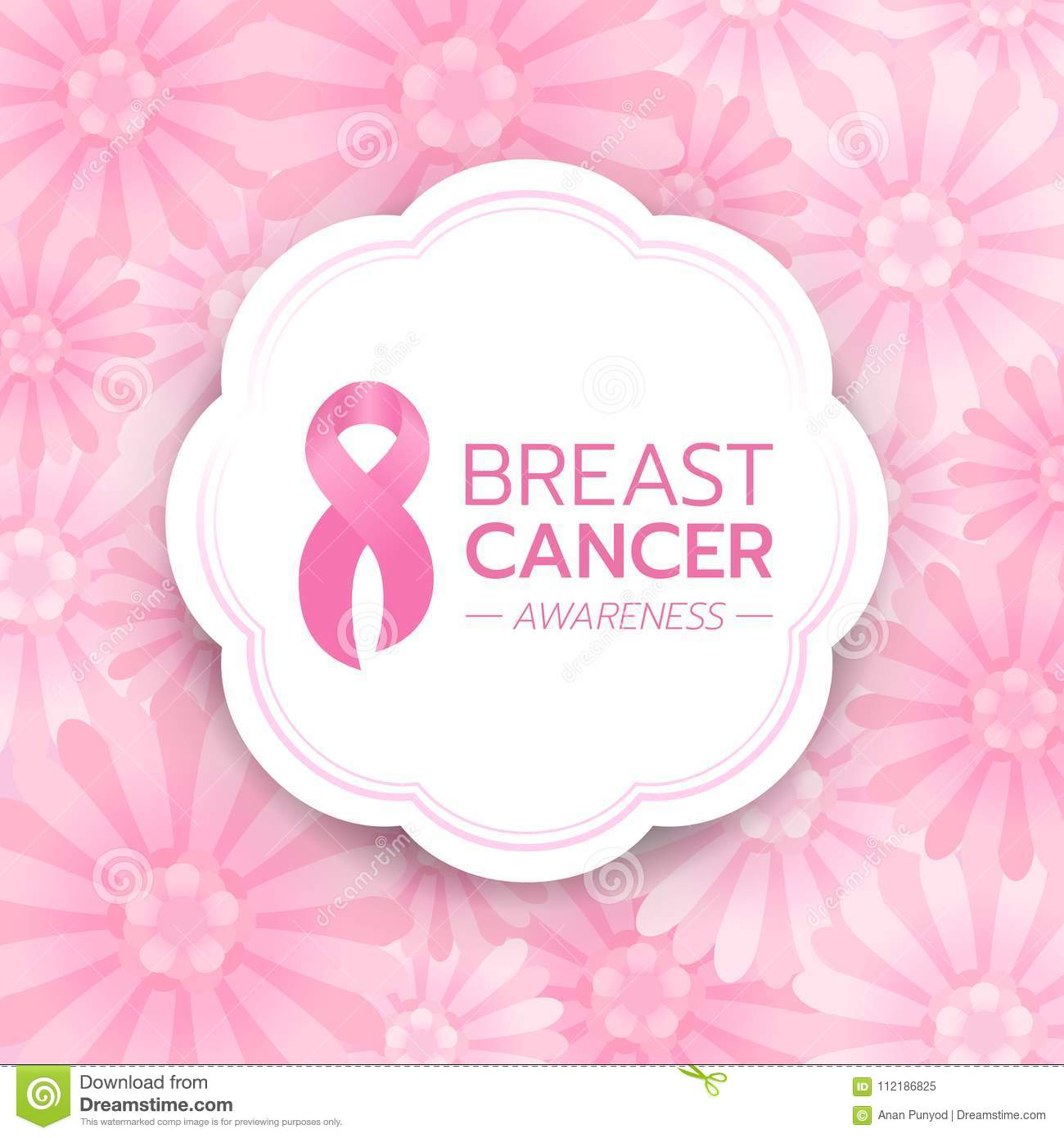 Breast cancer Awareness text and pink ribbon sign in white circle banner on abstract pink flower background vector design