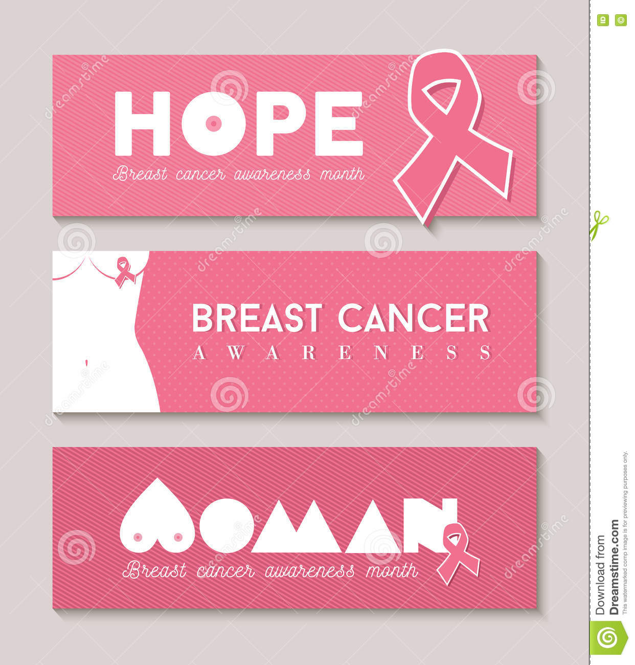 woman breast cancer awareness pink banner set stock vector  image