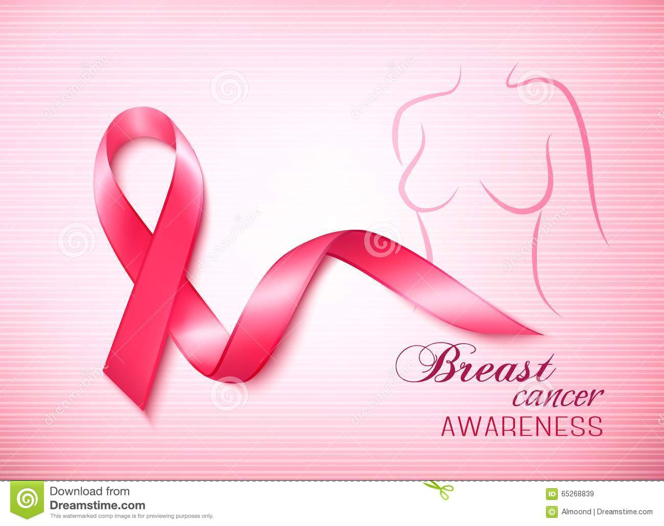 Breast cancer pink background an awareness ribbon