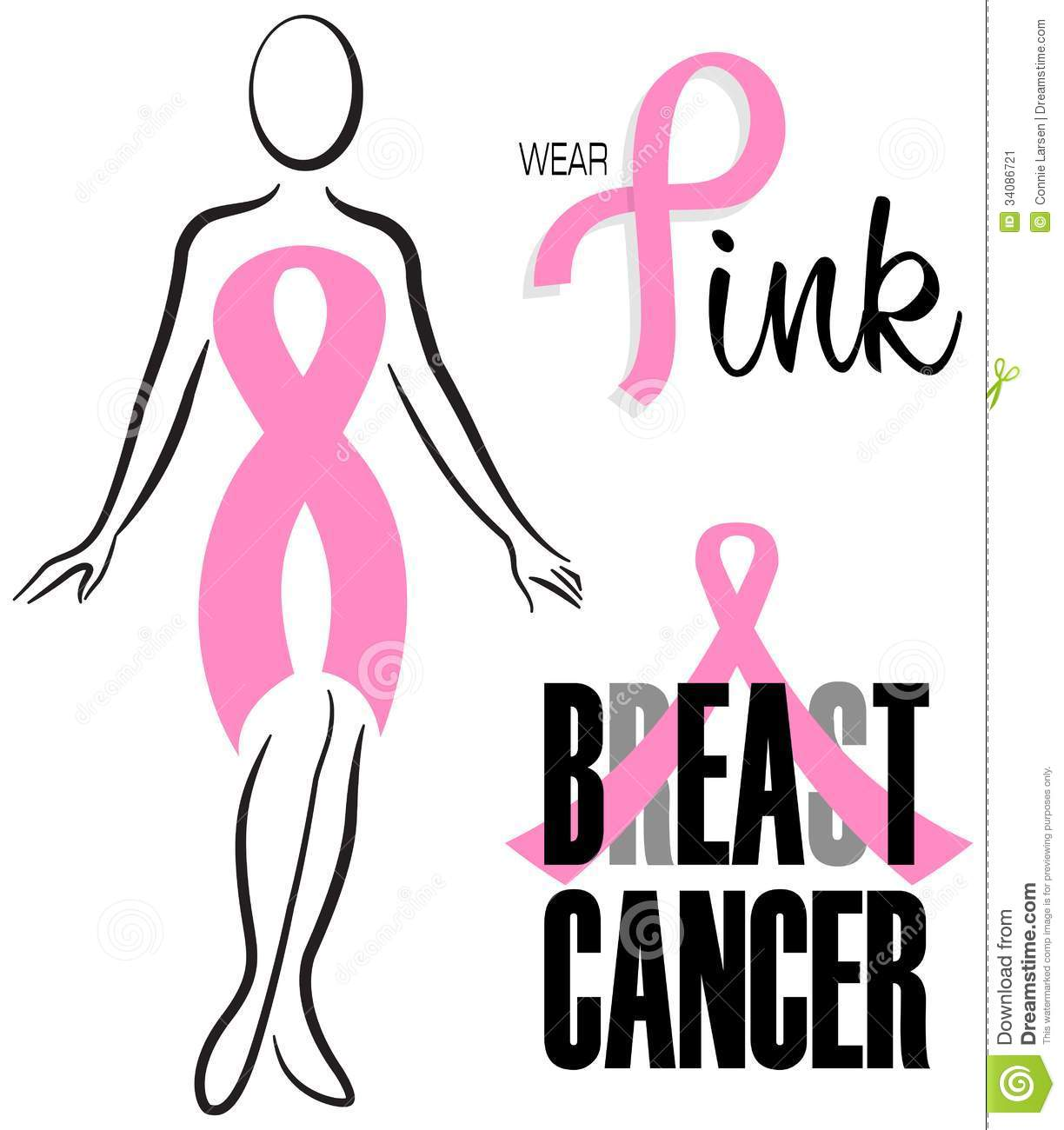 ... cancer awareness ribbon worn by a woman as a dress, Beat Breast Cancer