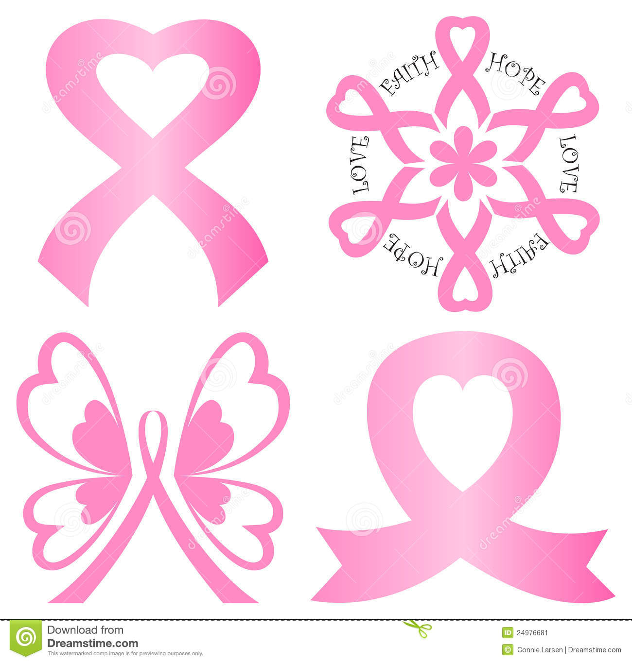 A variety of breast cancer awareness pink ribbon art including a butterfly,  flower and two styles with a heart.