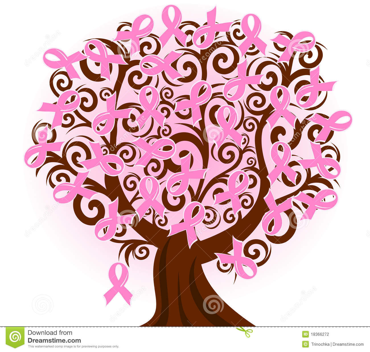 Breast Cancer Pink Ribbon Tree Stock Vector Illustration Of