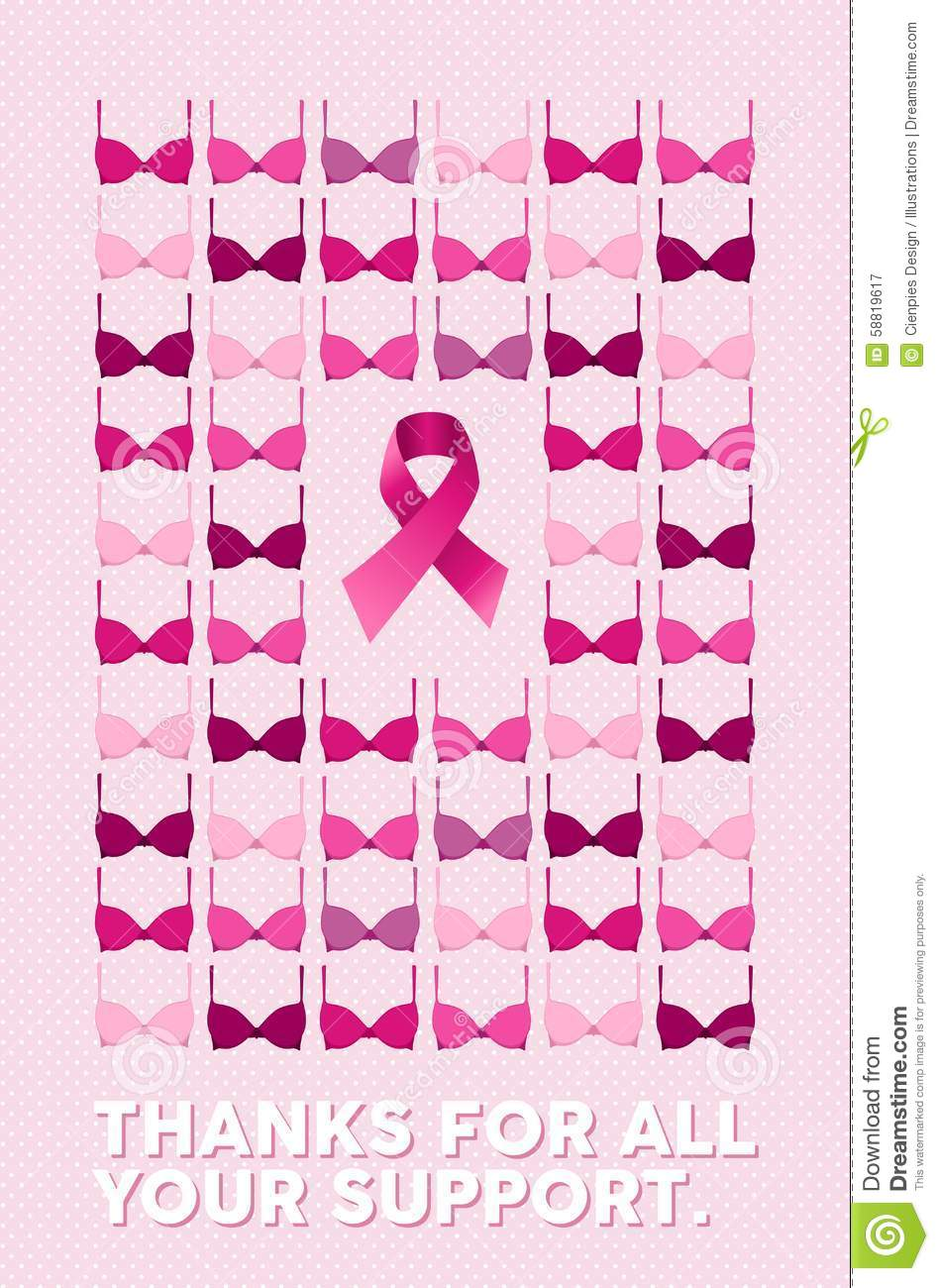 breast cancer poster thanks for your support stock vector