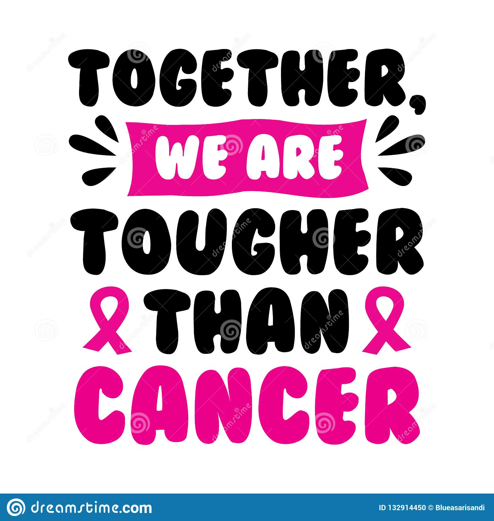Cancer Quotes | Breast Cancer Quote And Saying Stock Vector Illustration Of