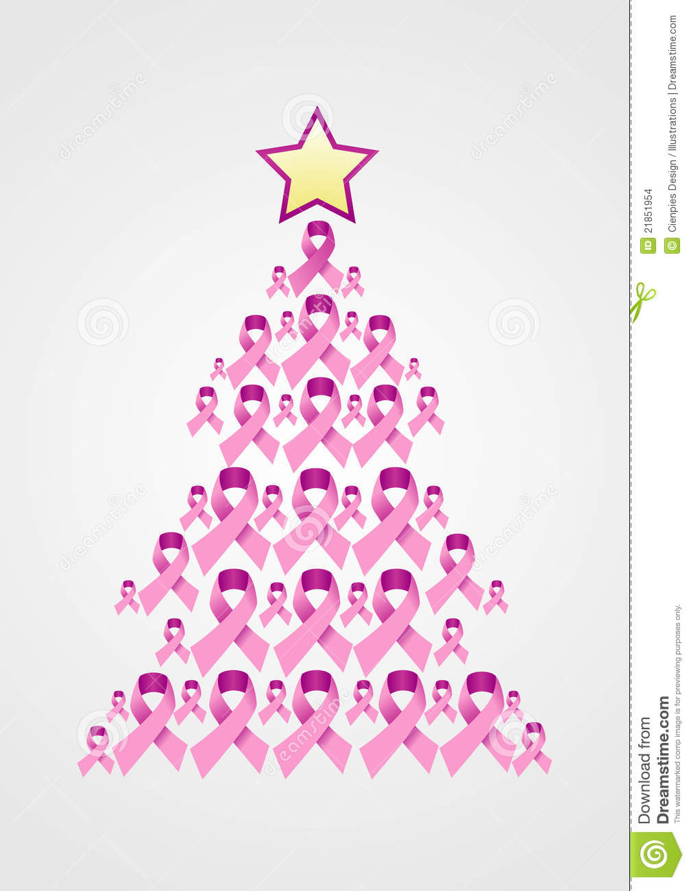 Breast cancer ornament - Breast Cancer Ribbon Christmas Tree