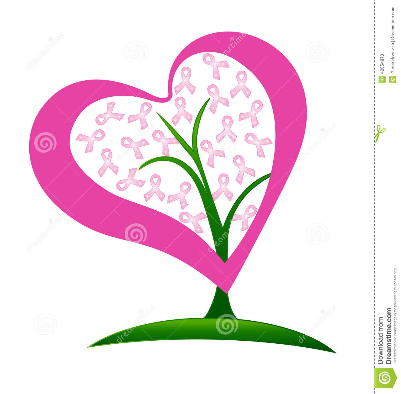 Breast Cancer Ribbons Heart Tree Stock Vector - Image: 42654870