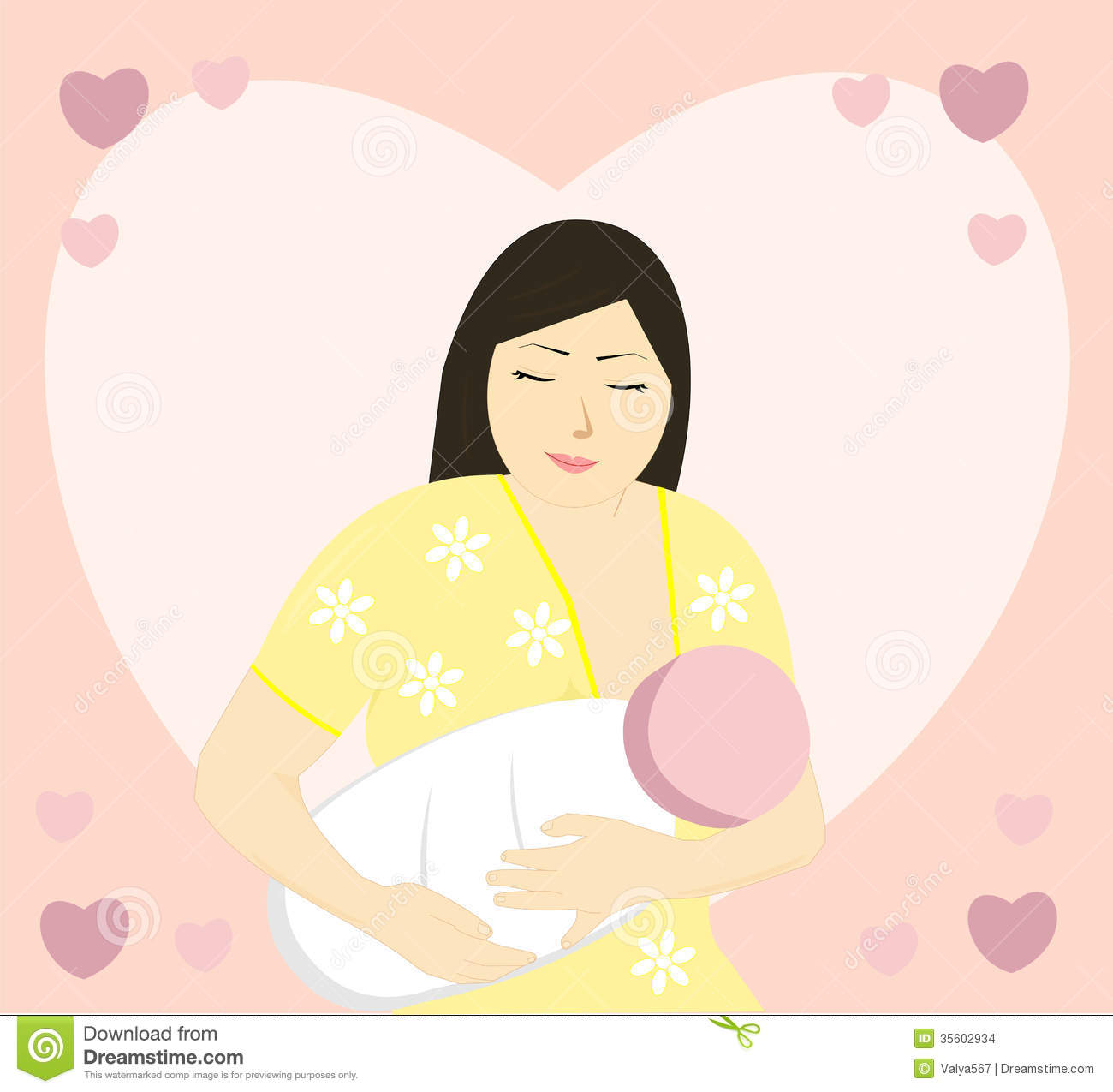Mom Feeding Baby Food Clipart