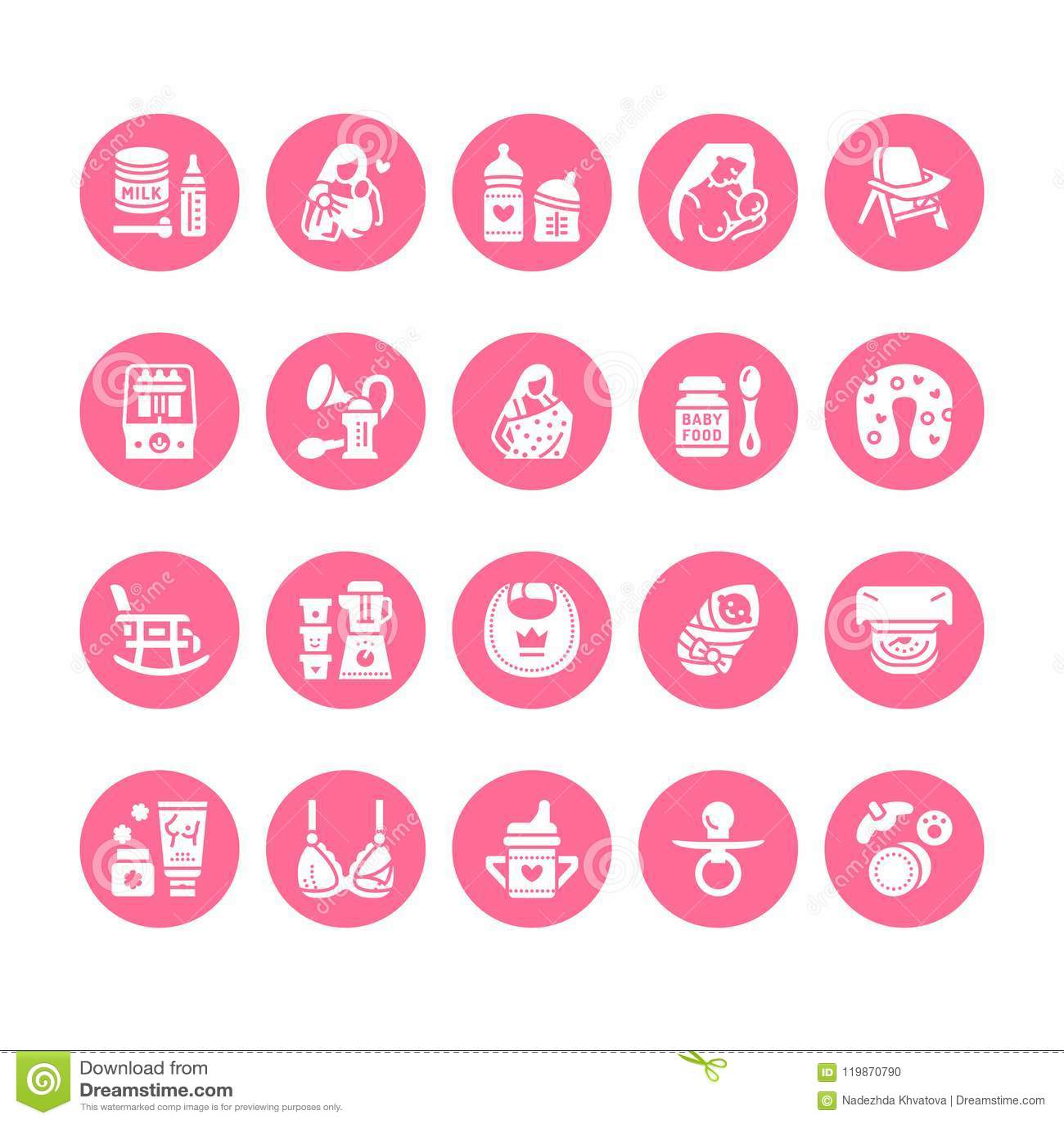 Breastfeeding, baby food vector flat glyph icons. Breast feeding elements - pump, woman, child, powdered milk, bottle