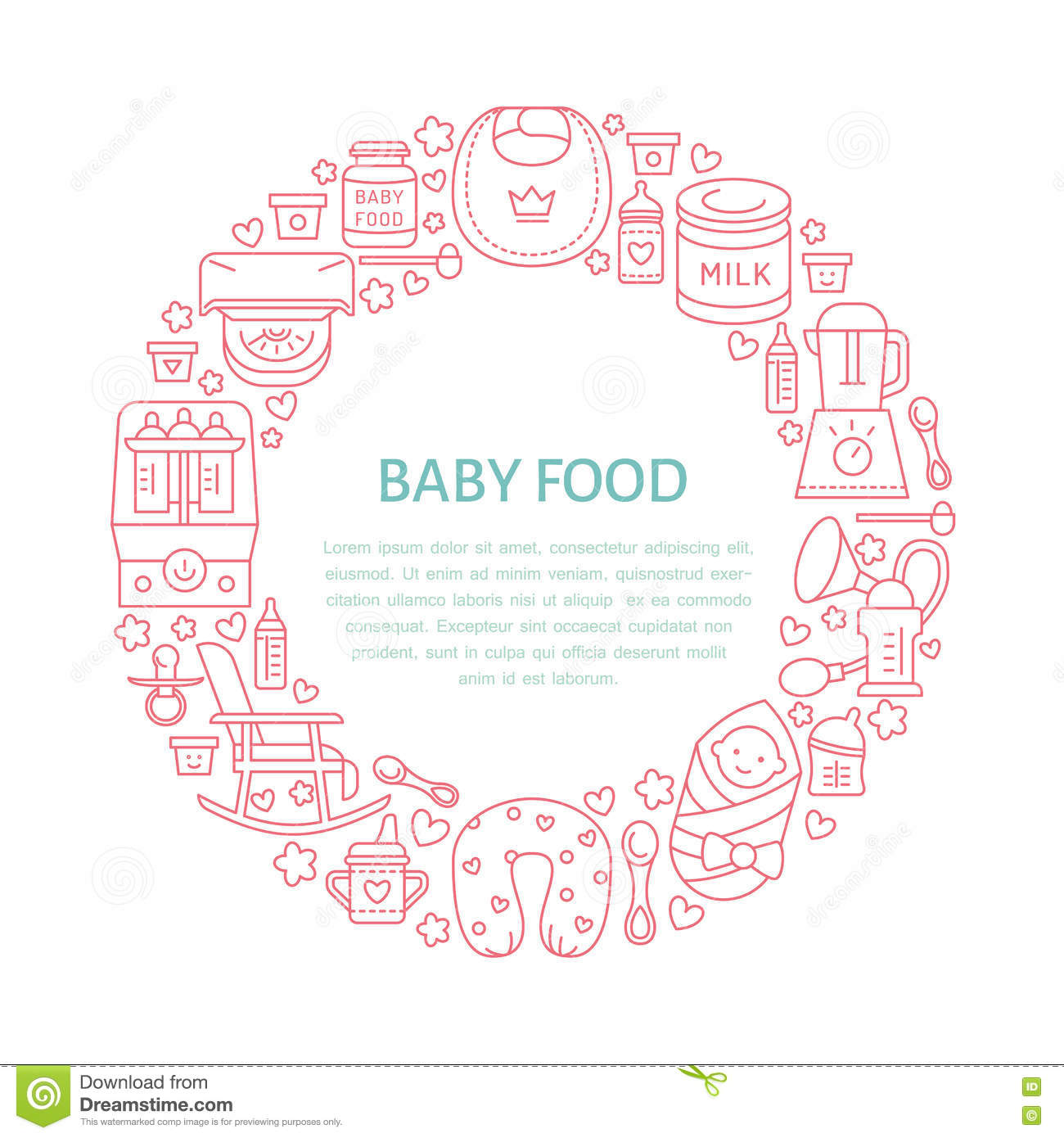 Breastfeeding poster template. Vector line illustration of breast feeding, baby infant food. Nursery element: breast pump, woman,