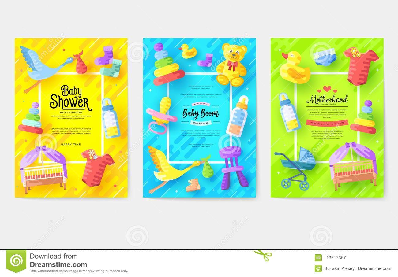 Breastfeeding Week Information Cards Set Kids Elements Template Of