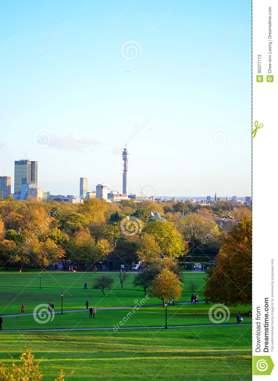 Breath-taking panoramic scenic view of London cityscape seen from beautiful Primrose Hill in St Regents park