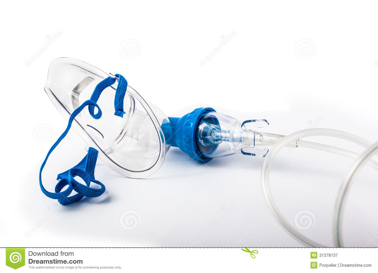 Breathing Mask Medical Oxygen Over White Background