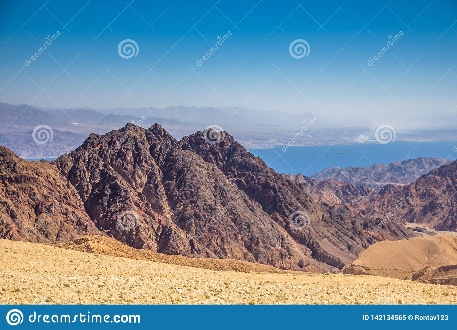 Breathtaking Panoramic view of Mount Salomon `Har Shelomo` Hebrew in Eilat Mountains and the Gulf of Aqaba