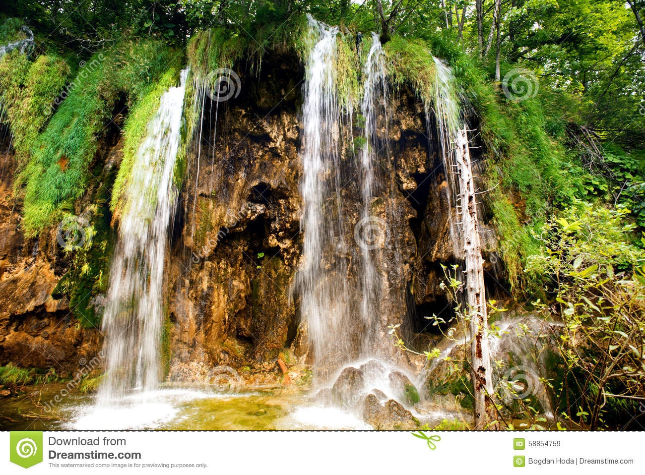 Breathtaking View Of Natural Waterfall Lake Cascade And