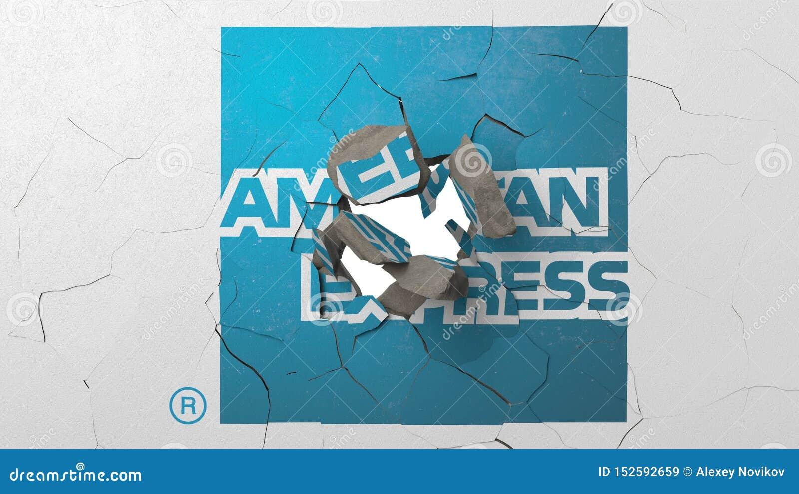 Brechen der Wand mit gemaltem Logo von American Express Krise bezog sich redaktionelle Wiedergabe 3D