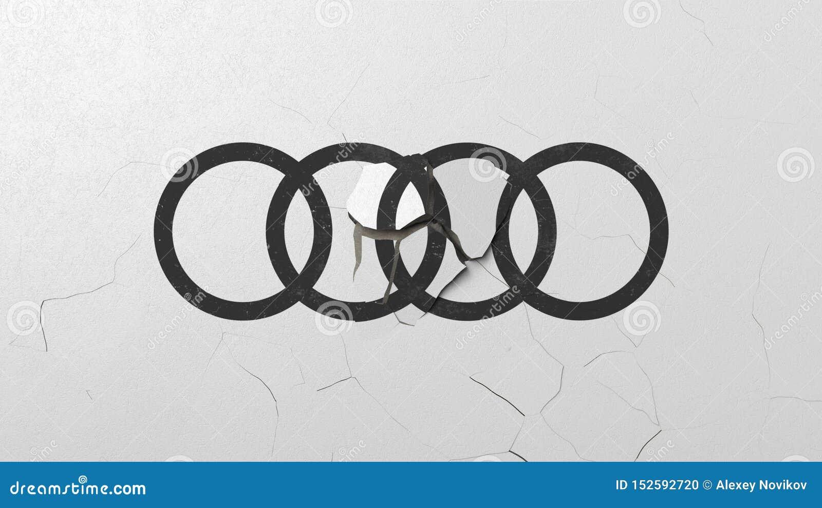 Brechen der Wand mit gemaltem Logo von Audi Krise bezog sich redaktionelle Wiedergabe 3D