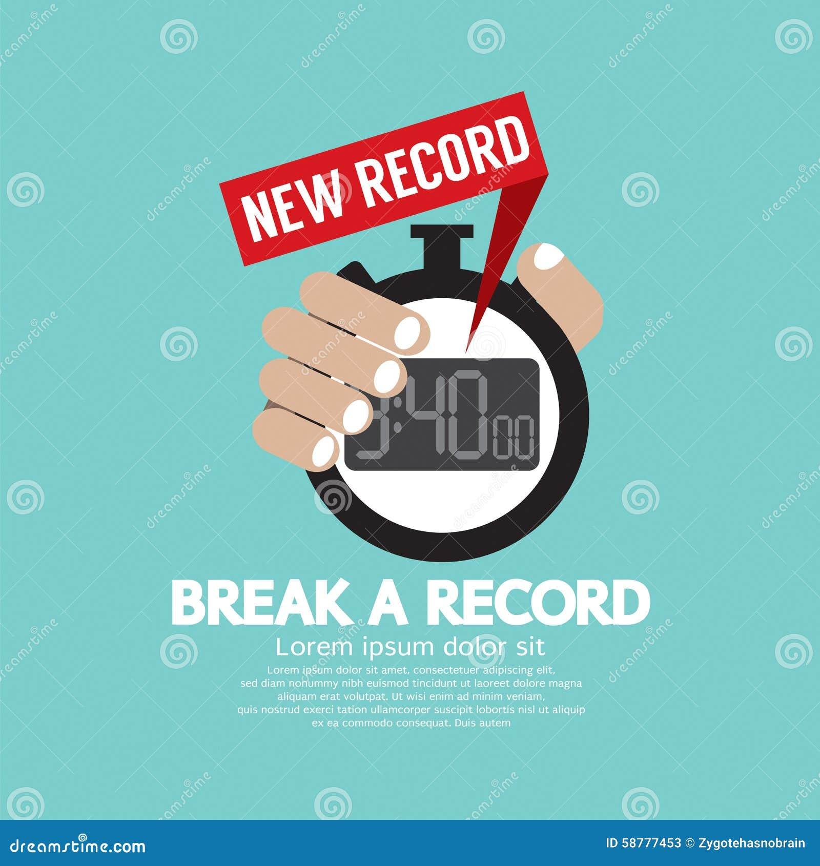 Brechen Sie eine Aufzeichnung, die neue Zeit-Aufzeichnung auf Stoppuhr zeigt
