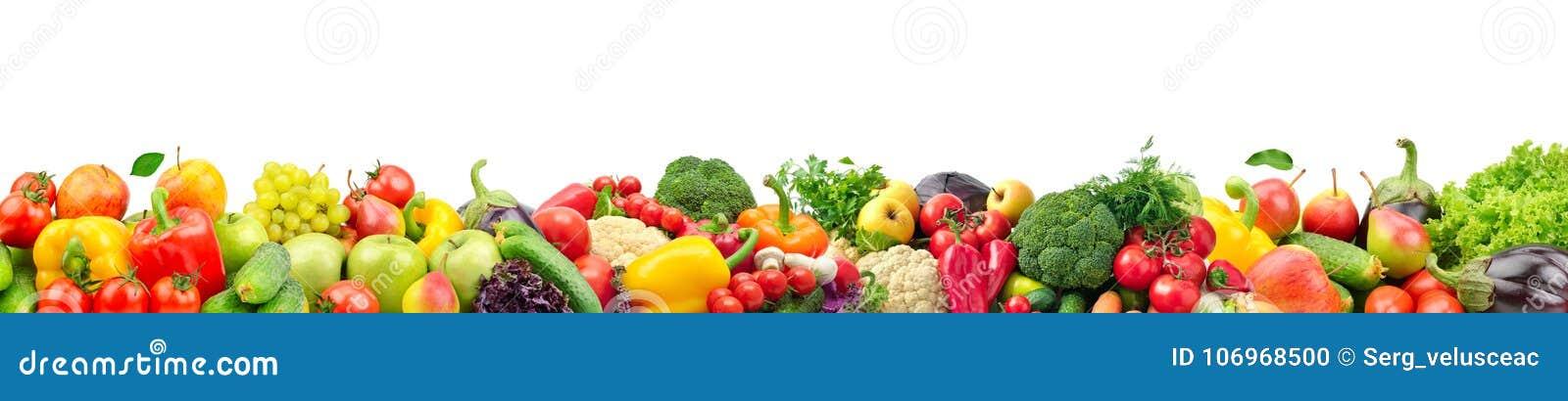 Bred collage av nya frukter och grönsaker för den isolerade orienteringen