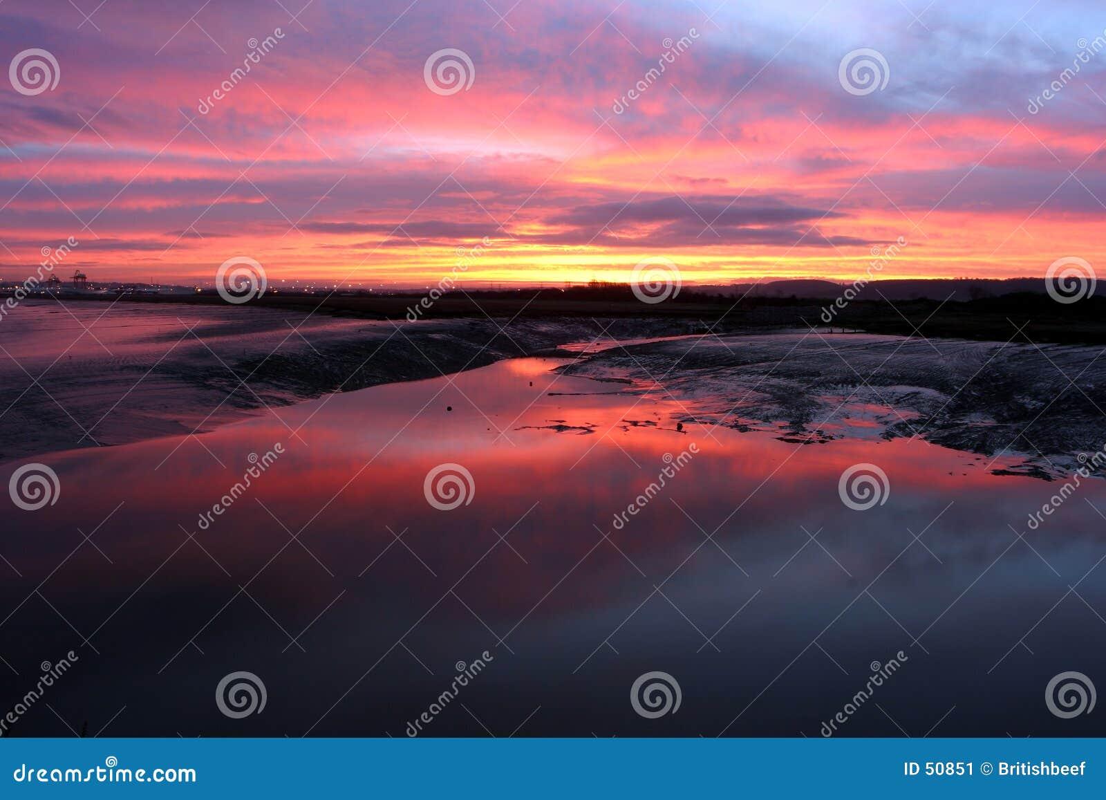 Bred flodmynning 2 över soluppgång