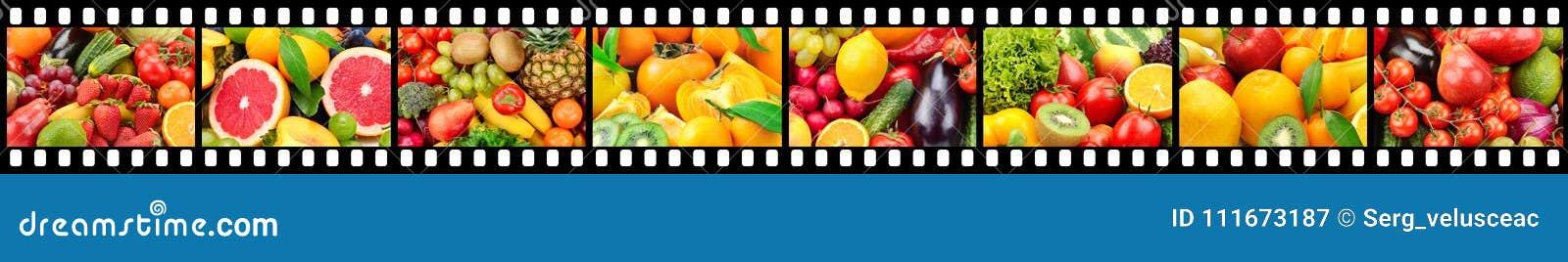 Bred ram i form av filmremsan med frukter och grönsaker