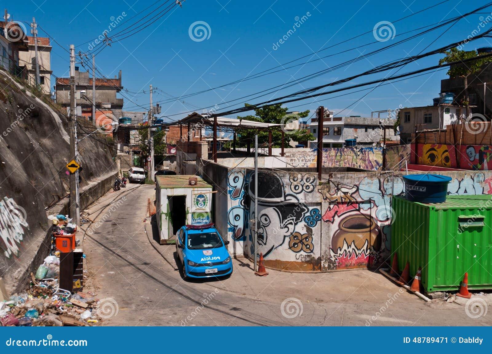 Breekbare woonbouw van favela Vidigal in Rio de Janeiro