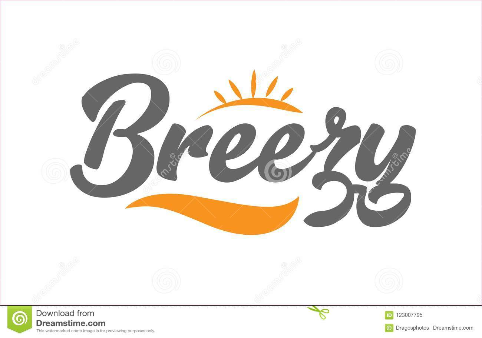 breezy black hand writing word text typography design logo icon