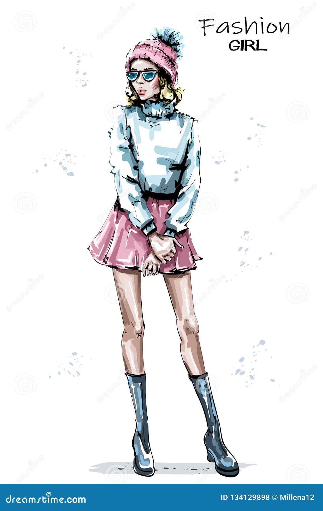 Breit de hand getrokken mooie jonge vrouw binnen GLB Modieus elegant meisje in rok De winter van de maniervrouw ziet eruit
