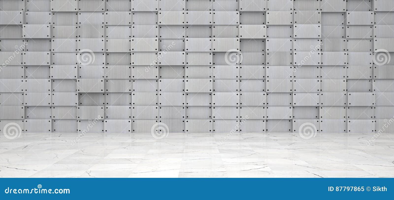 breiter metallraum mit marmorboden stock abbildung bild 87797865. Black Bedroom Furniture Sets. Home Design Ideas