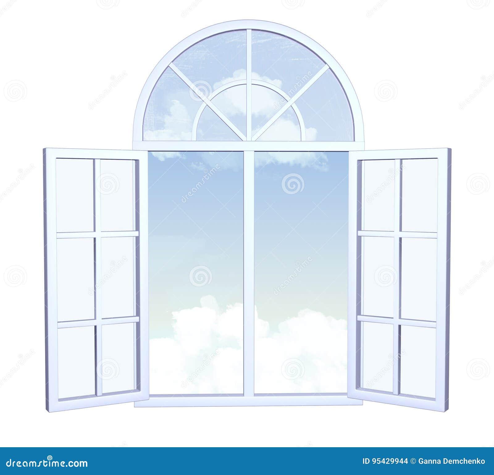 Offenes fenster himmel  Breites Offenes Fenster Mit Himmel Und Wolken Außerhalb Des ...