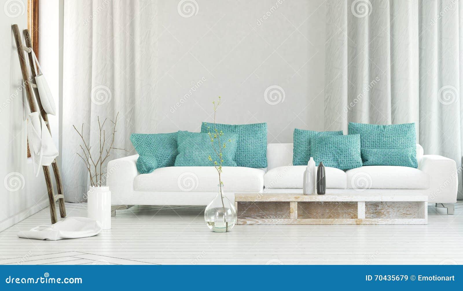 Weißes Sofa breites weißes sofa vor flüssigen vorhängen stock abbildung