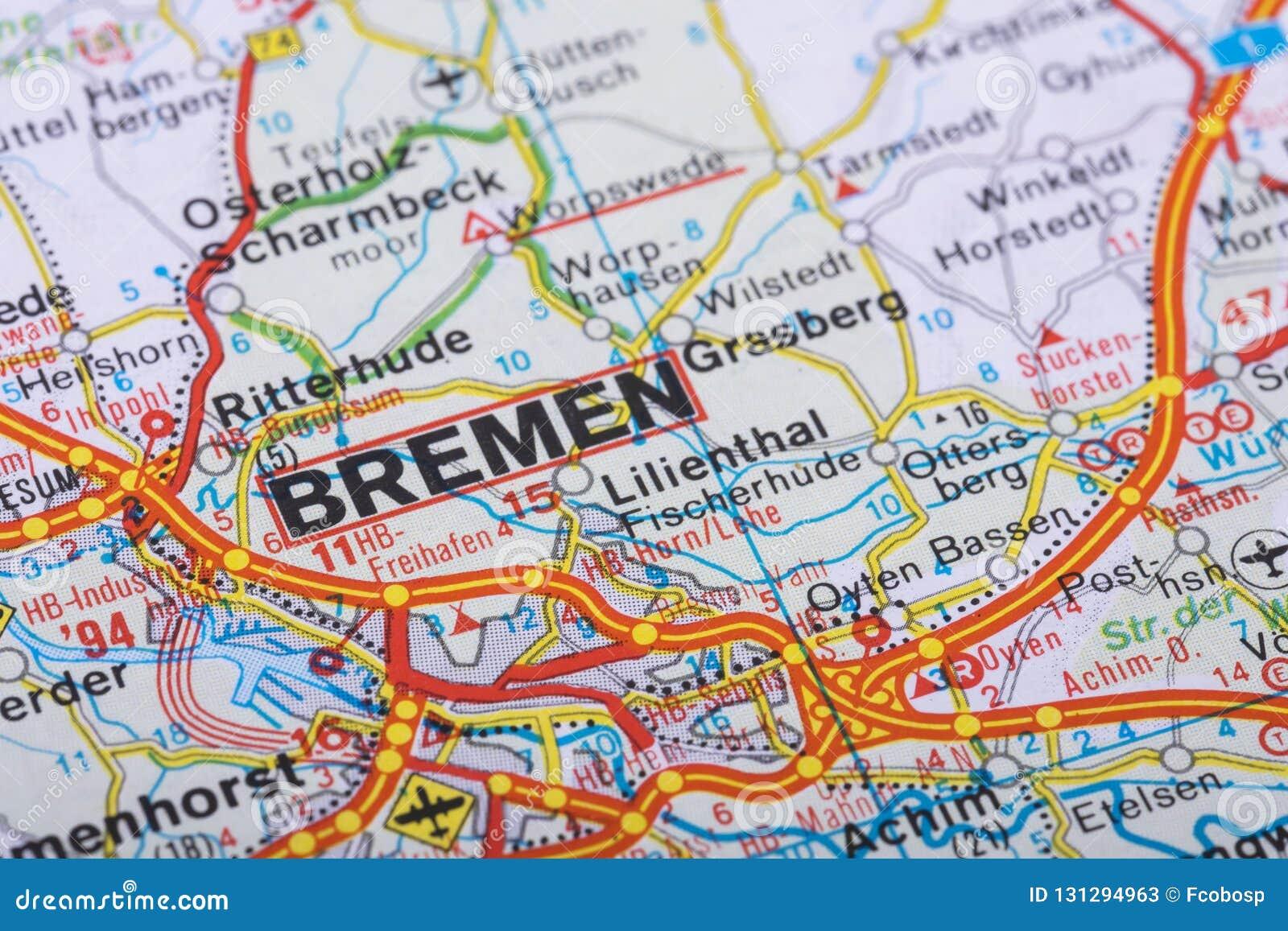 Bremen Auf Der Karte Stockbild Bild Von Deutsch Deutschland