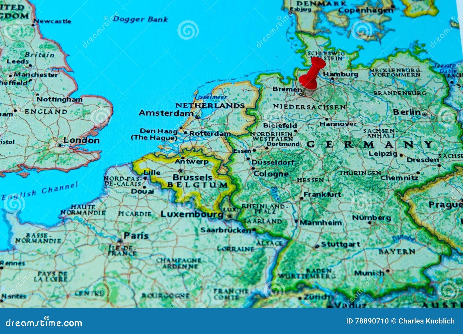 Bremen Deutschland Steckte Auf Eine Karte Von Europa Fest