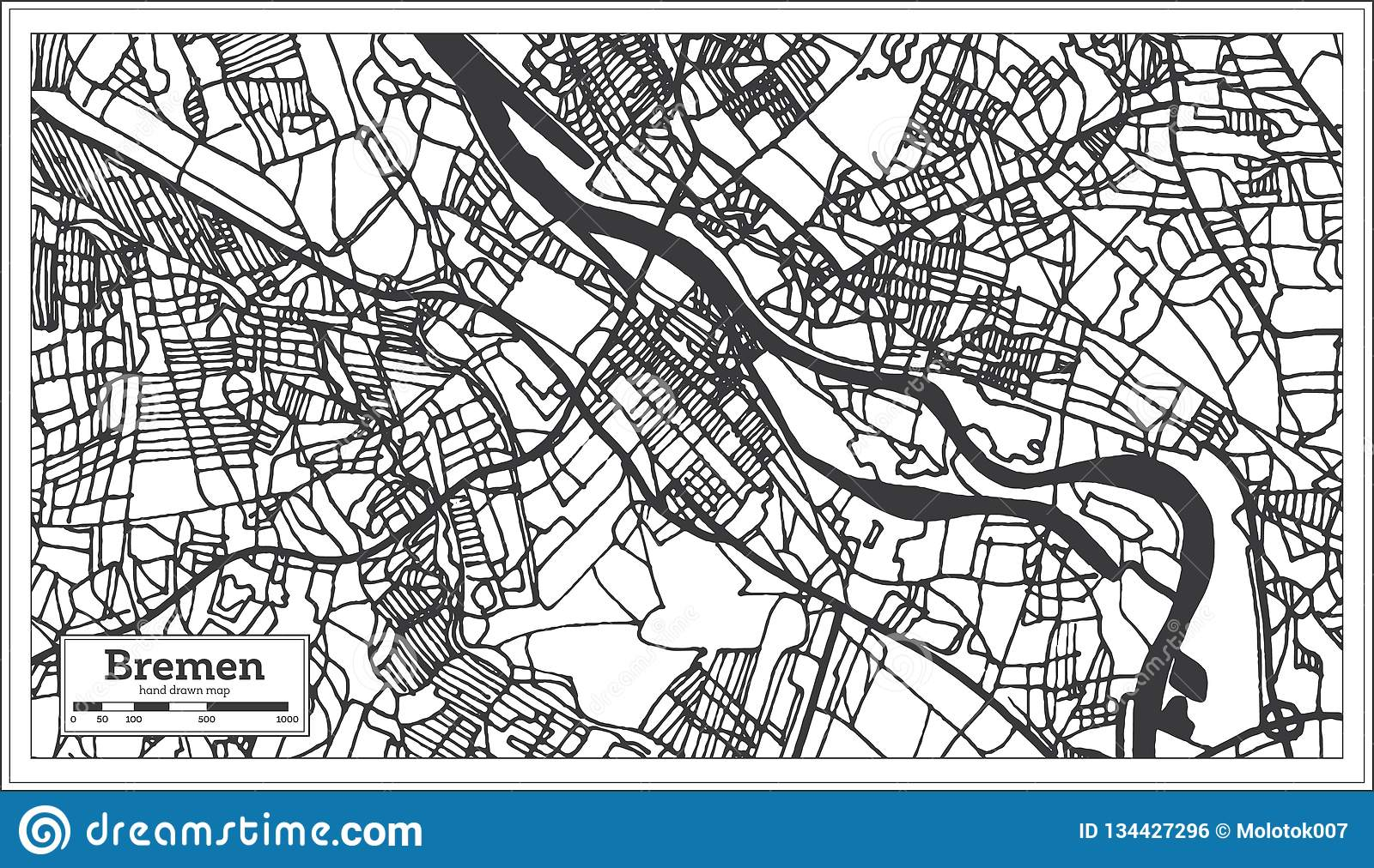 Bremen Germany City Map In Retro Style. Outline Map Stock ...