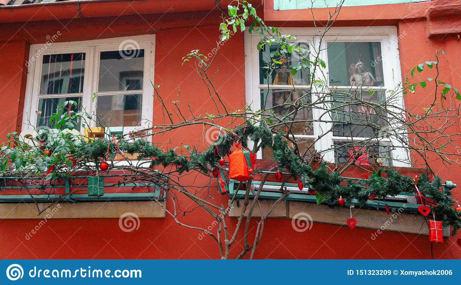Bremen, Germany, January, 2019 - Colorful houses with Christmas decoration and lights in historic Schnoorviertel