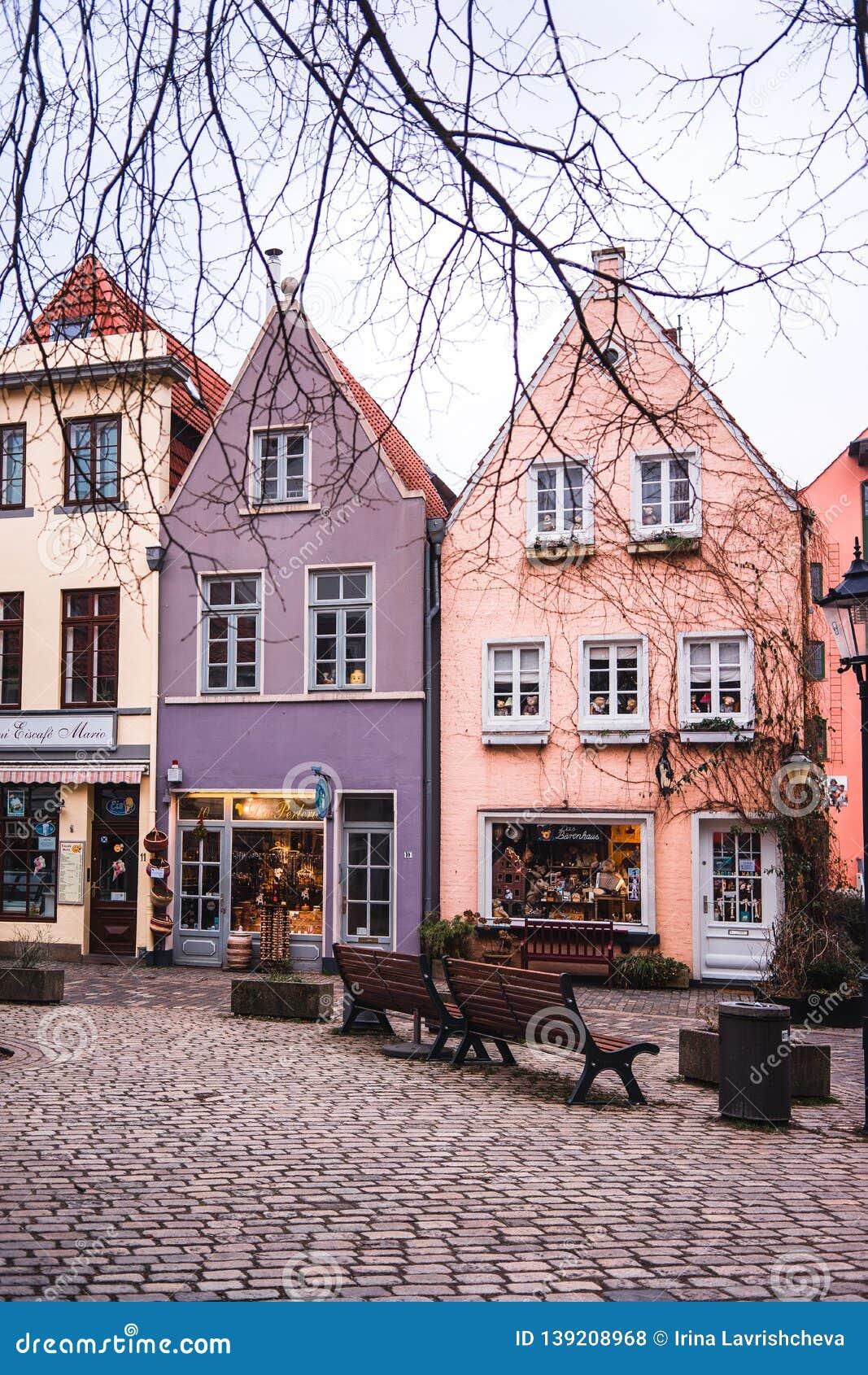 Bremen, Germany, January, 2019 - Colorful houses in historic Schnoorviertel in Bremen, Germany