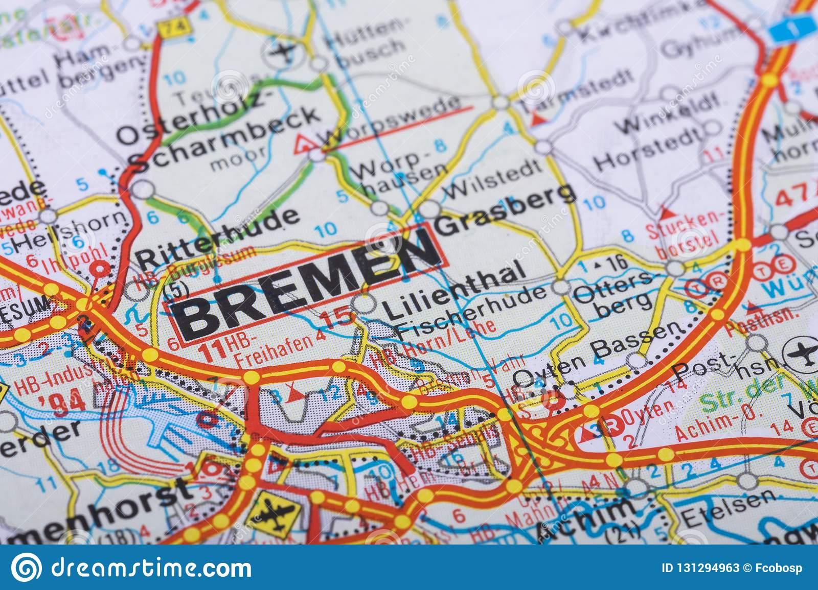 Map Of Bremen Germany.Bremen On The Map Stock Image Image Of Motorway German 131294963