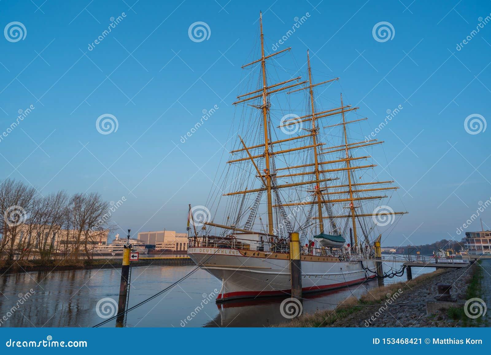 Bremen-Vegesack, Bremen, Germany - July 17, 2019 Bremen-Vegesack, Bremen, Germany - March 29, 2019 Sail school ship Germany is anc