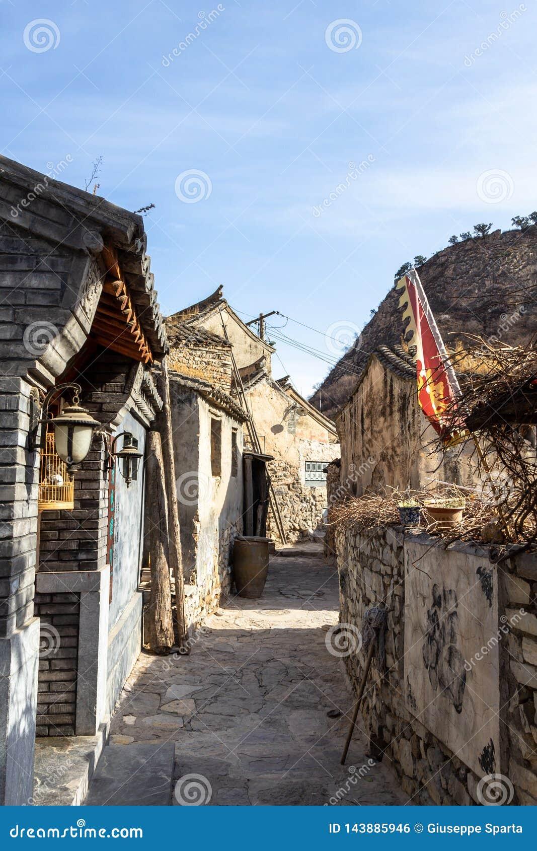 Breng 2014, Chuandixia, Hebei-provincie, China in de war: één van de kleine stegen van dit oude Ming Dynasty-dorp