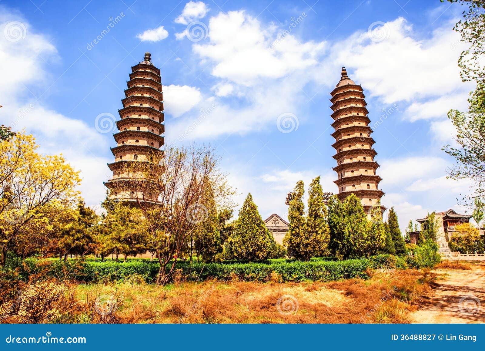 Brengt het pagode-oude oriëntatiepunt van de stad van Tai-Yuan samen
