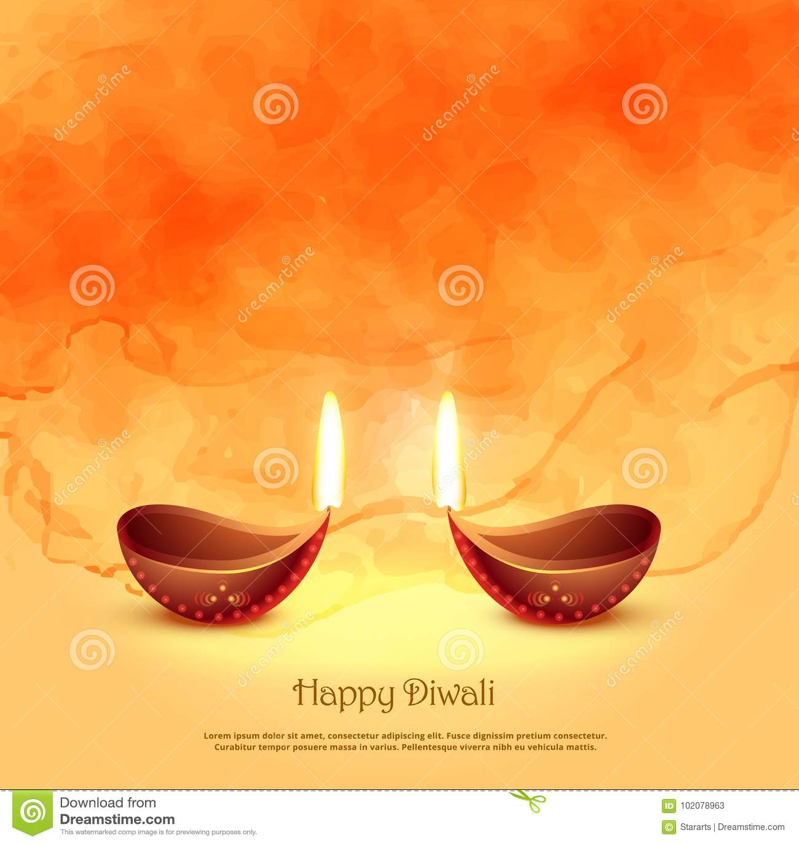 Brennende diya Lampen für diwali Festival-Grußhintergrund