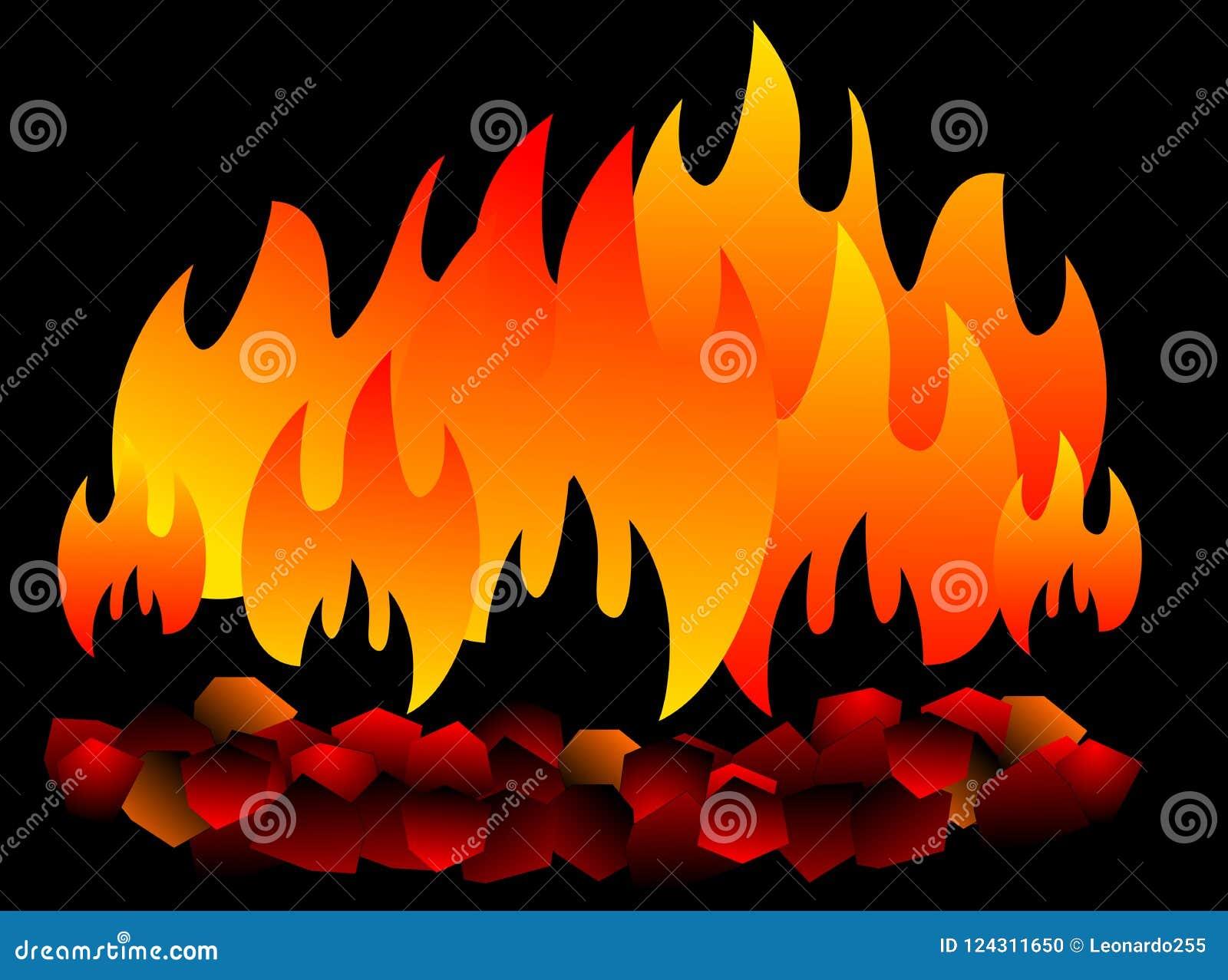 Brennende Kohle lokalisiert heiße Kohle auf schwarzem Hintergrund