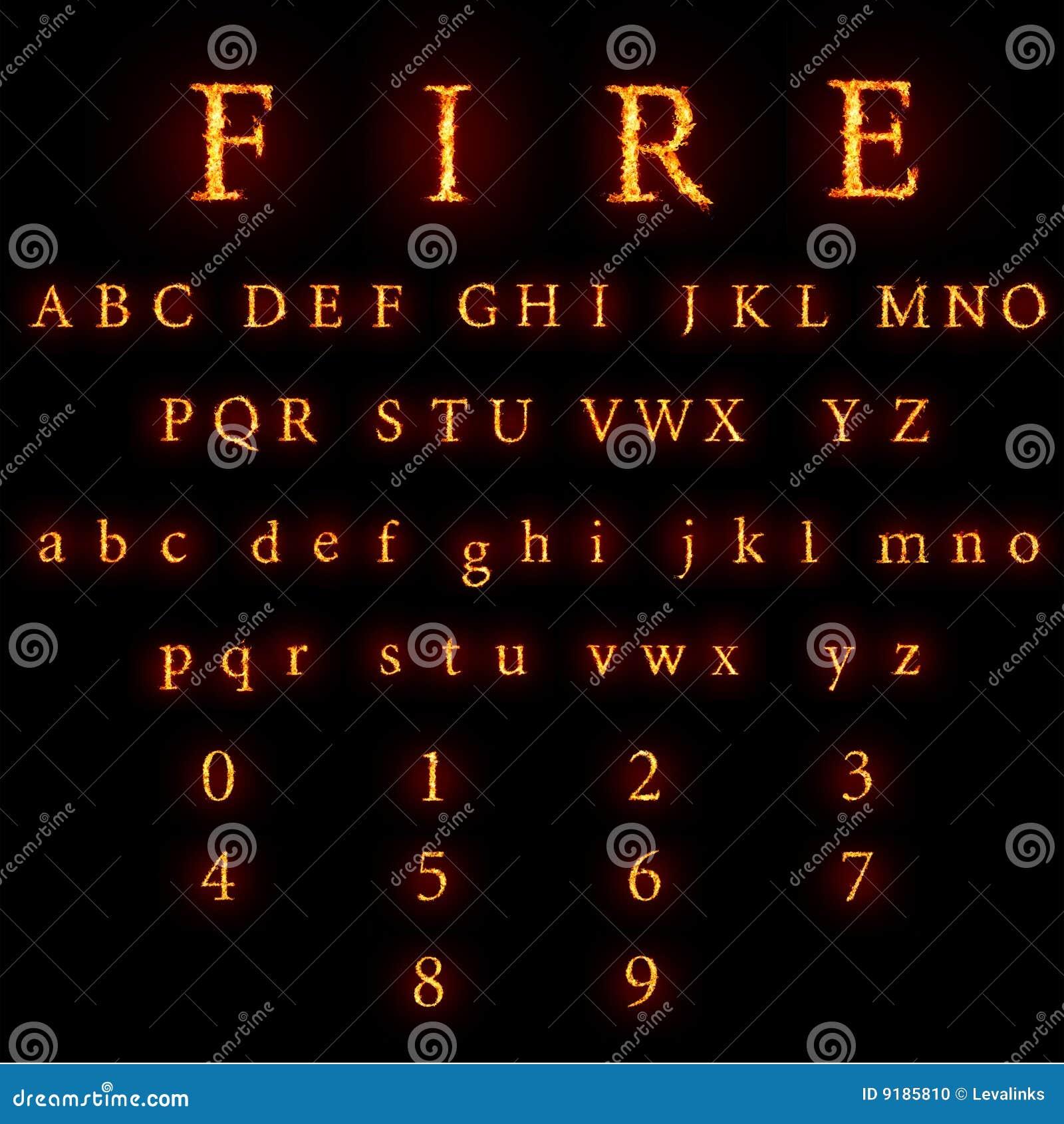 Brennende Schrifttypansammlung