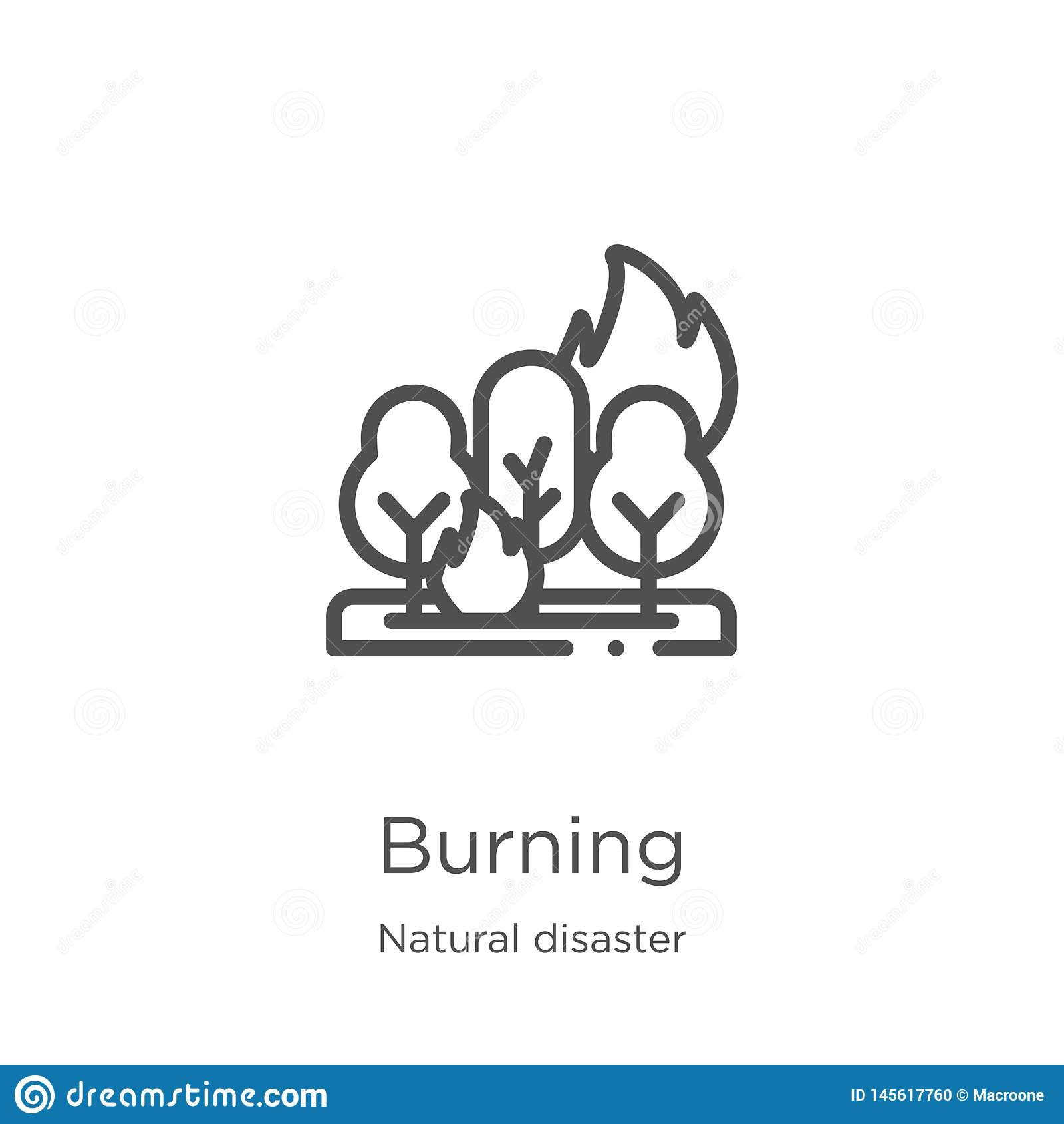 Brennender Ikonenvektor von der Naturkatastrophesammlung D?nne Linie brennende Entwurfsikonen-Vektorillustration Entwurf, d?nne L