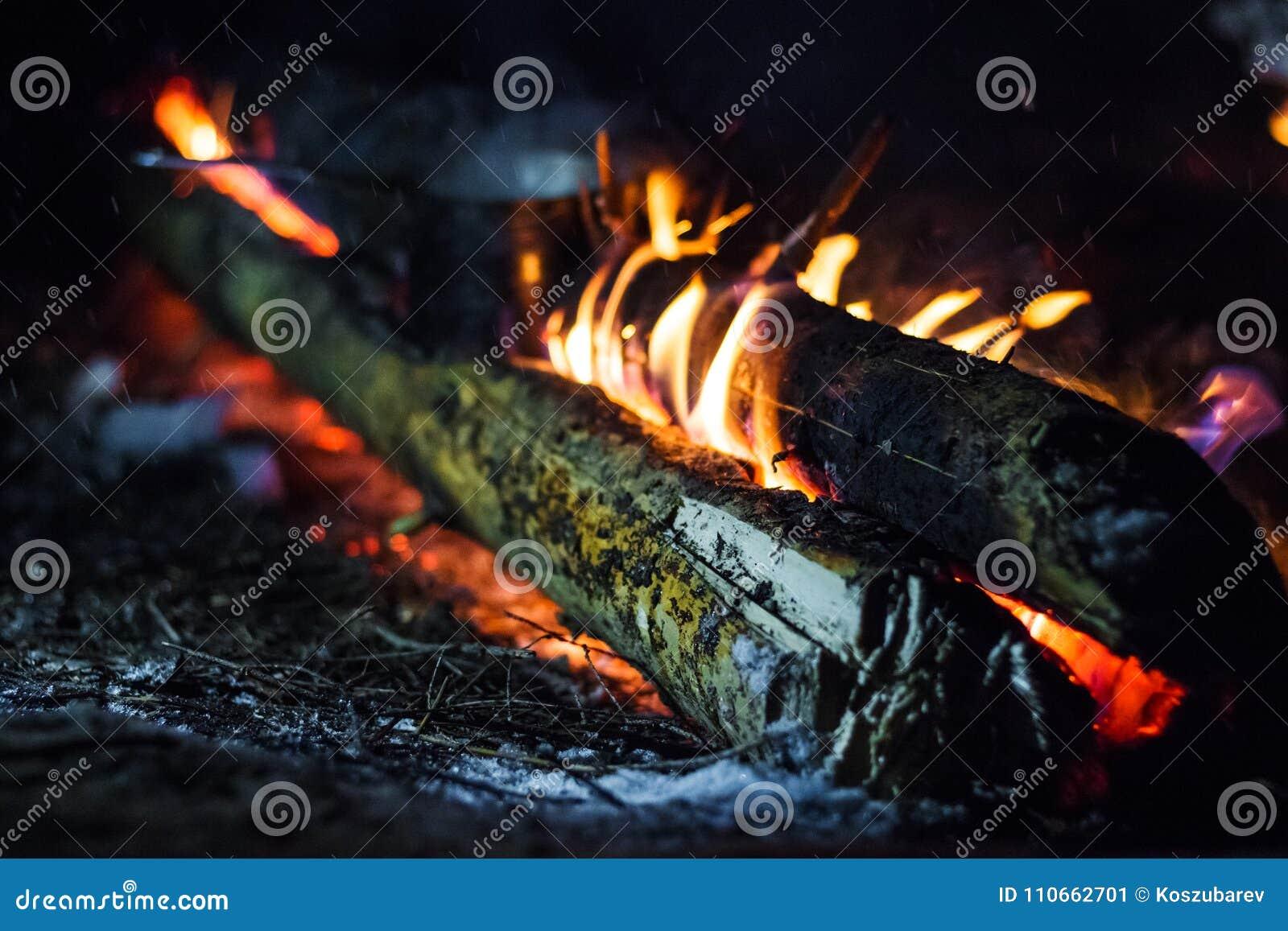 Brennholz im Feuer