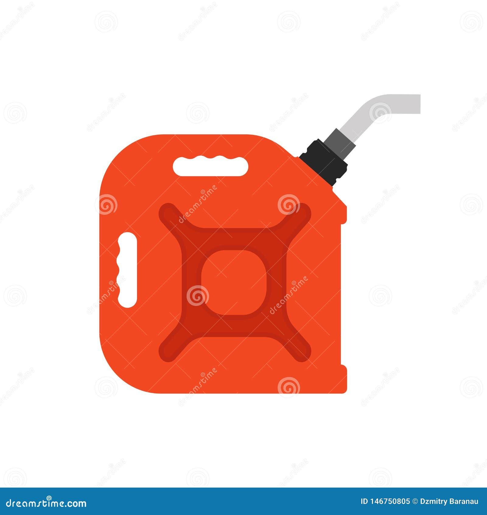 Brennstoff kann Vektorikonenenergie gasen Benzinölkanisterdieselindustrie-Treibstoffauto Rotes Karikaturgallonengriff-Benzinreser